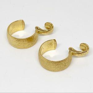 Vintage Crown Trifari Gold Hoop Earrings